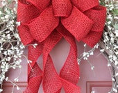 red burlap wreath bow, burlap bow, burlap decor, rustic bow, burlap wreath bow, wreath bow, red wreath bow, Etsy, handmade
