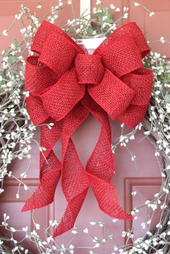 Red burlap wreath bow burlap bow burlap decor rustic bow for How to decorate a burlap wreath for christmas
