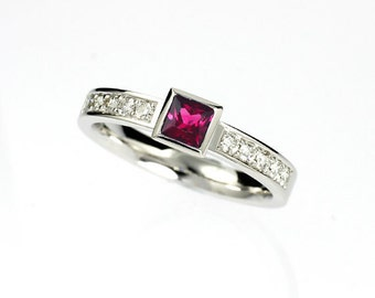 Princess cut pink sapphire engagement ring, diamond ring, bezel, solitaire, white gold, pink sapphire, princess engagement, wedding ring