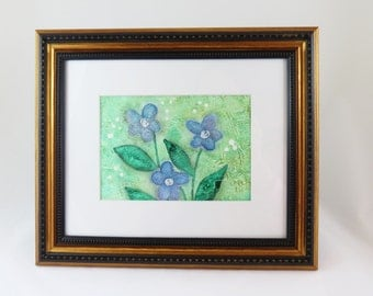 Forget Me Not Whimsical Blue Flower Abstract Summer Garden 5 x 7 Miniature Art Textured Painting