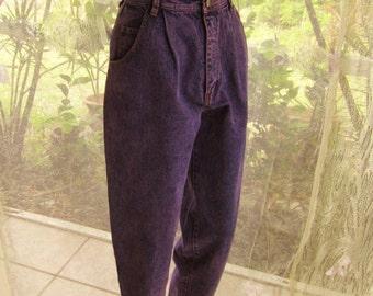 Vintage 1980 designer high waist blue jeans purple acid washed designer style
