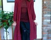 Geoffrey Beene Coat Wine Red Tweed Swing Cut Wool 1980s Eighties Vintage Open Weave