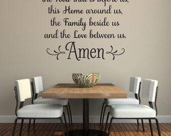 Bless The Food Before Us Wall Decal Kitchen Art Dining Room Words