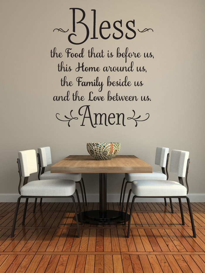 Bless the food before us wall decal kitchen wall art dining - Dining room wall decor ...
