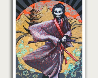 Skeleton Samurai Poster 8x10 Gift for him Asian Japan Wall Art Day of the Dead Warrior print Old School Comic Book Illustration bones nelson