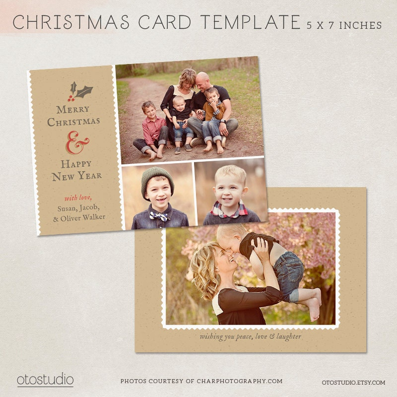 Digital photoshop christmas card template for photographers for Digital christmas cards templates