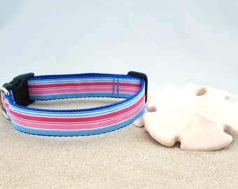 """Light Blue. Pink, Coral, White Striped Dog Collar 1"""" Wide"""