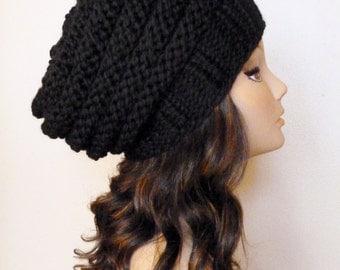KNITTING PATTERN - Knit Hat Pattern Black Slouchy Beehive Hat Pattern,Women's Knitting Hat Pattern, Slouchy Hat Pattern, Beehive Hat Pattern
