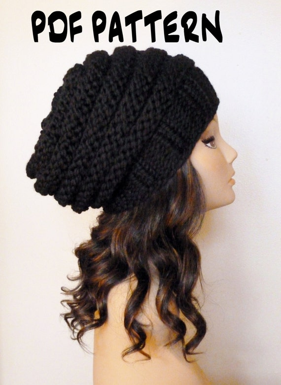 Knitted Hat Patterns For Women : KNITTING PATTERN Knit Hat Pattern Black Slouchy Beehive Hat