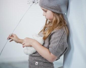 Knit alpaca wool hat / baby / children / toddler /alpaca wool slouchy beanie / over-sized gray hat /  knit unisex hat