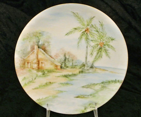Antique Artist Signed Hand Painted Porcelain Plate 1900s Austria Austrian Tropical Paradise Caribbean Hawaii Island Palm Trees Ocean Scenic