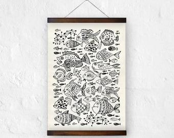 Life under the sea, giclee print, Art print. Fish illustration, archival paper, archival print