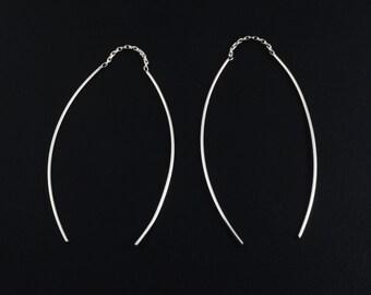 Sterling Silver Curved Bar Ear Thread Earrings