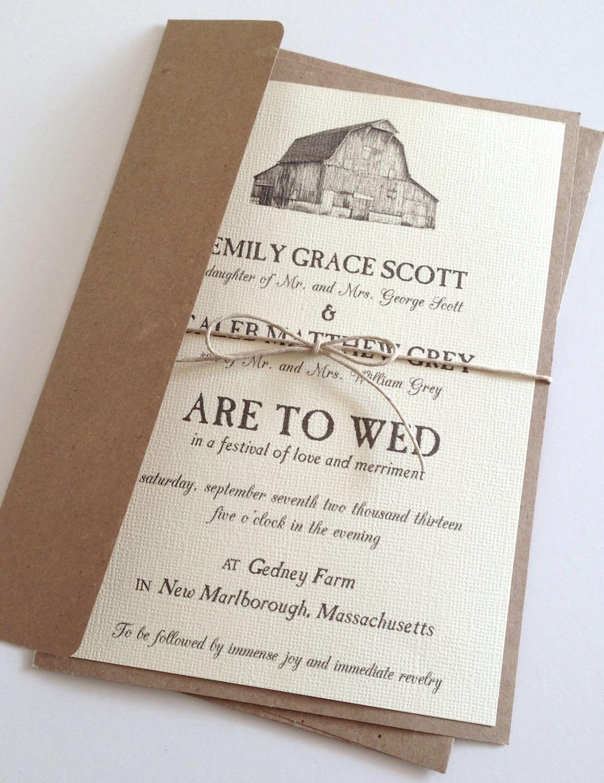 rustic barn wedding invitations by lemoninvitations on etsy