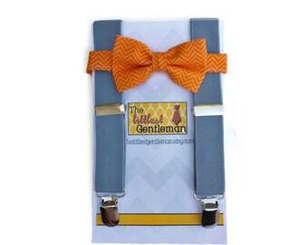 Orange Bow Tie and Suspenders: Orange Gingham Bow Tie, Grey Suspenders, Toddler Suspenders, Ring Bearer