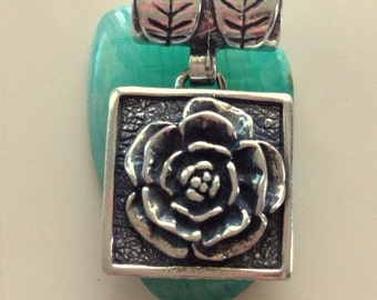 Vintage Artisan Flower Pendant - Sterling Silver Reversible Pendant - Large Square Flower