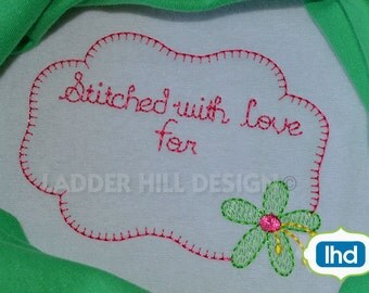 Quilt Label - Stitched with Love for - Heirloom Machine Embroidery Design QLRE002