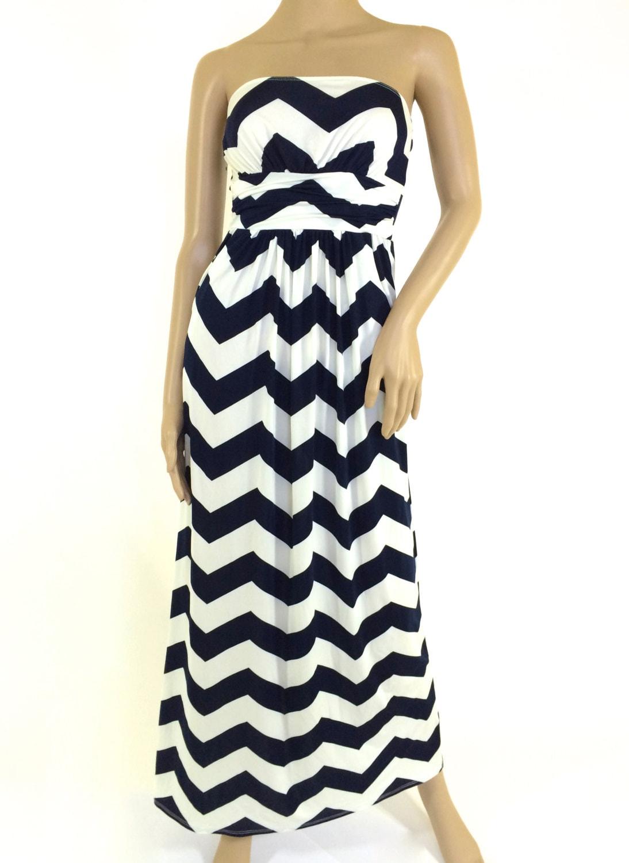 Plus Size Chevron Maxi Dress Navy & White Chevron Print With