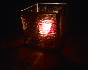 Dark Purple Stained Glass Votive Candle Holder