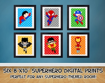 SALE 25% OFF Superhero Wall Art, Superhero Posters, Bedroom Prints Nursery Prints Superheroes Digital Art Printables 6 - 8x10 Digital Prints