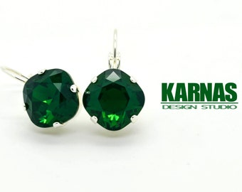 MOSS GREEN 12mm *DISCONTINUED* Cushion Cut Drop Earrings Made With Swarovski Elements *Pick Your Finish *Karnas Design Studio *Free Shipping