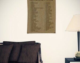 National Parks Travel Checklist Burlap Wall Banner (w/ Free Shipping!)