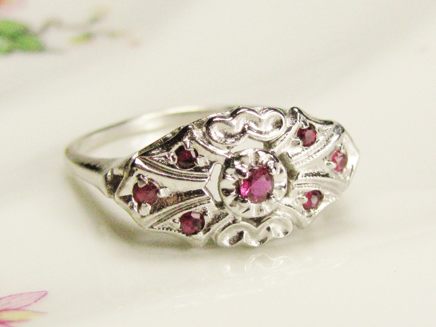 Antique Ruby Engagement Ring Heart Motif Promise Ring 14K