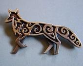 Celtic Fox Brooch or Pendant in Bronze