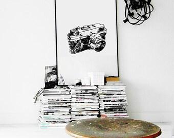 Vintage camera print, camera poster, retro camera, Digital Download, digital art, Instant Download, Printable Art, modern retro, home decor