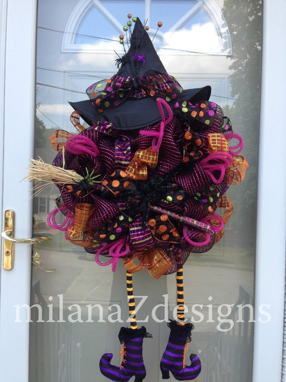 XL Halloween Deco Mesh Wreath Cute Witch with Legs Purple - Cute Witch Decorations