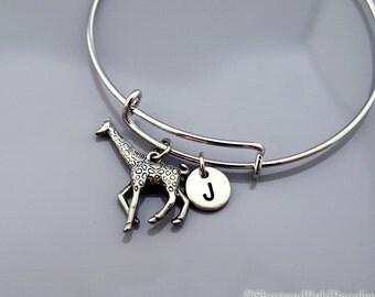 Large Giraffe bangle, Giraffe bracelet, Silver Giraffe, Expandable bangle, Personalized bracelet, Charm bangle, Monogram, Initial bracelet
