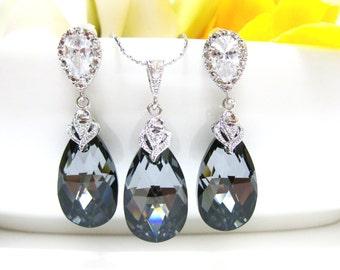 Wedding Bridesmaid Necklace Earrings Set Bridal Jewelry Silver Night Black Swarovski Crystal Tear Drop Earrings & Necklace Gift Set (NE011)