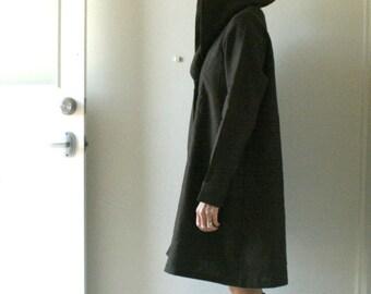 LINEN COAT - GRETEL / hoodie coat / women / eco / winter coat / hooded dress / handmade in australia / pamelatang