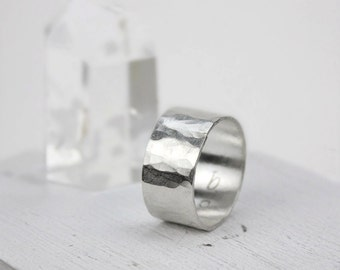 Hammered Silver Wide Band Ring, Simple Statement Ring, Minimalist Jewelry