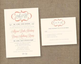 Modern wedding invitations, vintage wedding invitations, monogram wedding invitations, coral wedding invitation, printed wedding invitations