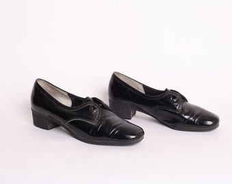 Vintage 1980s Patent Leather Forefathers Square Toe US 8