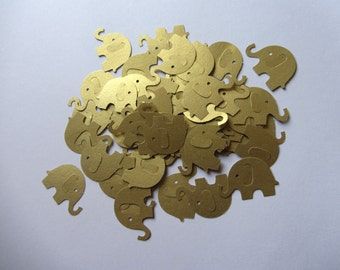 Gold Wedding Elephant Die Cuts - Wedding Table Confetti - Baby Shower Animal Decoration - Paper elephants - Gold baby shower