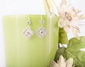 Bridal drop earing, rhinestone dangle earrings, filigree earring, Swarovski wedding earings, vintage jewelry. CHARLIZE
