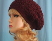 Aubergine Slouch Hat - Crocheted - Soft Acrylic Yarn - Handmade - *Choose Size* - Slouchy Hat - Maroon