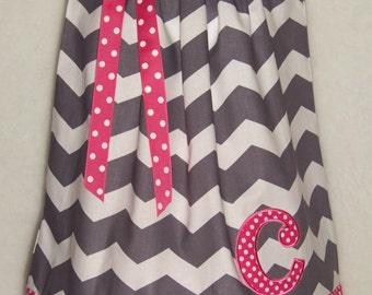 Initial Pillowcase Dress / Pink / Gray / Chevron / Letter/ Personalized/ Newborn / Infant / Baby / Girl / Toddler / Custom Boutique Clothing
