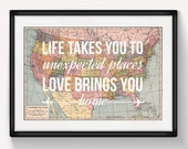 United States Map, Wall Art, Valentines Gift, Map of United States, Leaving Gift, Travel, Home Quote, Love Quote, US Map, Wedding Gift