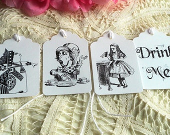 Alice in Wonderland Gift Tags Queen of Hearts Mad Hatter White Rabbit Tweedledee Drink Me Hang Tags