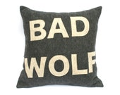 Bad Wolf- Doctor Who inspired Pillow Cover in Charcoal Grey and Stone - 18 inches