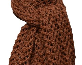 Hand Knit Scarf - Copper Brown Lace Alpaca