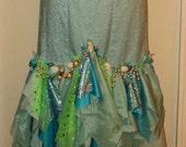Mermaid tail skirt sea princess costume Halloween fancy dress upcycled turquoise/green/ shell /fishtail skirt