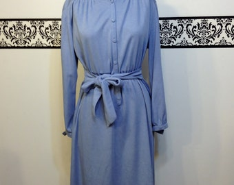 1960's Soft Cotton Secretary Dress by My Latest Leslie Faye, Size Large, Vintage Hipster Day Dress in Washed Out Blue, 60's Mary Tyler Moore