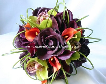 Eggplant, plum, deep purple, green, orange, bouquet, Real Touch flowers, roses, orchids, calla lilies, Bride and Groom silk wedding set