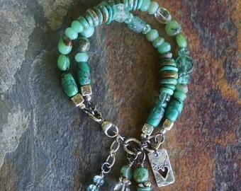 Natural GREEN Turquoise & Ancient Glass Bohemian Glam Bracelet, Handmade Jewelry, Handcrafted Artisan Sterling Silver Bracelet