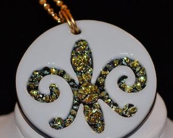 Fleur de Lis // Dichroic Fused Glass Pendant // StephGlass Original Art
