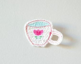 Time For Tea Crochet Brooch